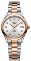 Rotary - Oxford, Diamond Set, Stainless Steel/Tungsten - Rose Gold Plated - Crystal/Glass Quartz Watch