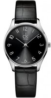 Calvin Klein - Classic, Stainless Steel Black Leather Bracelet Watch