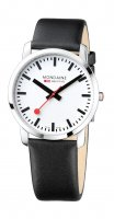 Mondaine - Simply Elegant, Stainless Steel Leather Quartz Watch, Size 41mm