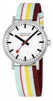 Mondaine Classic, Stainless Steel Crystal Glass Fabric Strap Quartz Watch, Size 40mm