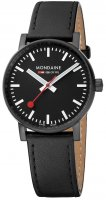 Mondaine - EVO2 30, Black IP Plating, Black Leather Strap Watch