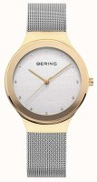 Bering - Classics, Swarovski Crystals Set, Stainless Steel - Yellow Gold Plated - Mesh Watch