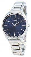 Seiko - Basic, Stainless Steel Ladies Blue Face Watch