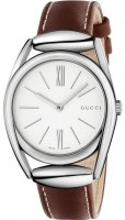 Gucci - Stainless Steel and Brown Leather White Dial Watch