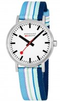 Mondaine  Classic, Stainless Steel, Crystal Glass,  Fabric Strap Quartz Watch, Size 40mm