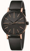 Calvin Klein - Boost, Stainless Steel and Black Leather, Two-tone Dial Watch
