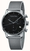 Calvin Klein - Men's City Chronograph, Stainless Steel Black Dial with Mesh Strap Watch