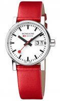 Mondaine - evo2 Big Date, Stainless Steel - Leather - Quartz Watch, Size 30mm