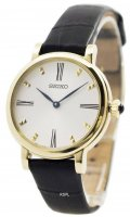 Seiko - Ladies, Yellow Gold Plated and Black Leather Watch