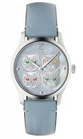 Gucci - Timeless, Stainless Steel Watch with Leather Strap - Cats design in mother of pearl, Size 38mm
