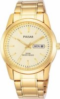 Pulsar - Yellow Gold Coloured Stainless Steel Day and Date Watch