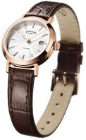 Rotary - Rose Gold Plate Brown Strap Watch
