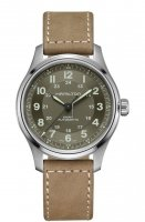 Hamilton - khaki field, Titanium - Leather - Automatic Strap, Size 40mm