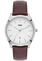 Storm - Men's, Ortus White, Stainless Steel and Leather Watch