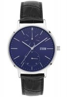 Storm - Men's, Denston Blue, Stainless Steel and Leather Blue Dial Watch
