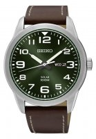 Seiko - Stainless Steel Leather Strap Watch