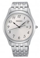 Seiko - Round White Dial Date Stainless Steel Watch - SUR299P1