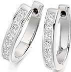 Guest and Philips - 18ct White Gold and Diamond Princess Cut Hoop Earrings