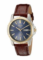 Seiko - Gents Solar, Two Tone with Red Leather Strap Day / Date Watch