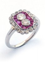 1930 - Cluster Ring Set with Rubies and Diamonds in 18ct. White Gold