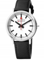 Mondaine - Stop2go, Stainless Steel Leather  Watch, Size 42mm