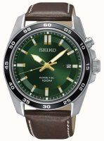 Seiko - Kinetic, Steel Leather 100m Watch
