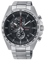 Seiko - Discover More Quartz Black Chronograph Bracelet Watch  - SSB323P