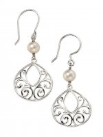 Gecko - Beginnings, Silver Filigree Drop Pearl Earrings