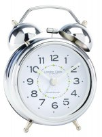 London Clock - Silver & White Twinbell Alarm Clock