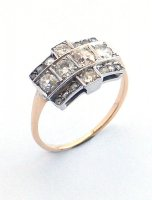 1910 - Cluster Ring, Diamond Set in 18ct. Yellow and White Gold