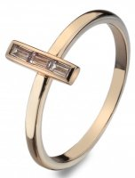 Virtue - Linear, Baguette Cut Cubic Zirconia Set, Rose Gold Plated Ring, Size P
