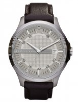 Armani Exchange - Stainless Steel Brown Leather Strap Watch