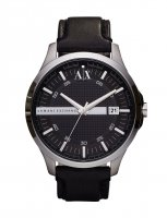 Armani Exchange - Stainless Steel Black Leather Strap Watch