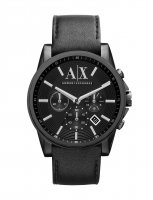 Armani Exchange - Stainless Steel and Black Leather Chronograph Watch