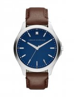 Armani Exchange - Stainless Steel Blue Dial and Brown Leather Strap Watch