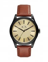 Armani Exchange - Stainless Steel Gold Dial, Brown Leather Strap Watch