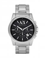 Armani Exchange - Stainless Steel Black Dial Chronograph Watch