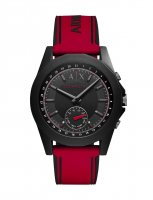 Armani Exchange - Connected Hybrid Smartwatch, Black and Red Silicone Watch