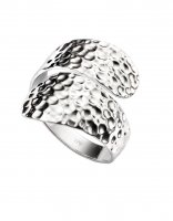 Gecko - Beginnings, Silver Hammered Finish Wrap Around Ring, Size O