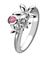 Virtue - Passion, Pink CZ Set, Sterling Silver Ring, Size P