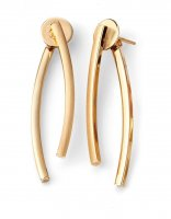 Gecko - Elements, 9ct Yellow Gold Curved Bar Front and Back Earrings