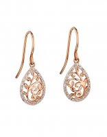 Gecko - Elements, Diamond Set, 9ct Rose Gold Baroque Drop Earrings