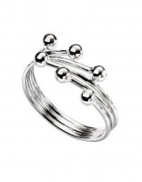 Gecko - Beginnings, Silver Wrap Ball Ring, Size N