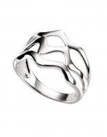 Gecko - Beginnings, Silver Tripe Wave Ring, Size O