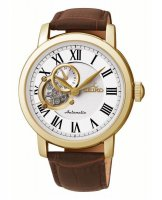 Seiko - Gents Automatic, Yellow Gold Plated with Brown Leather Strap Watch