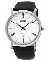 Seiko - Gents Premier, Stainless Steel with Black Leather Date Circle Watch