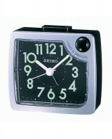 Seiko - Black and Silver Plastic Light and Snooze Alarm Clock, Size Small