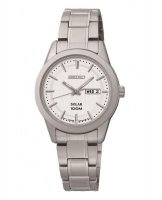 Seiko - Ladies Solar, Stainless Steel Day / Date Watch