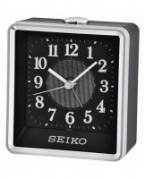 Seiko - Black and Silver Plastic Quiet Sweep, Snooze and Flashing Light Alarm Clock