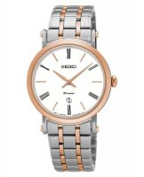 Seiko - Ladies Premier, Rose Gold Plated and Stainless Steel Date Circle Watch